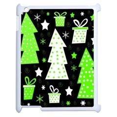 Green Playful Xmas Apple iPad 2 Case (White)