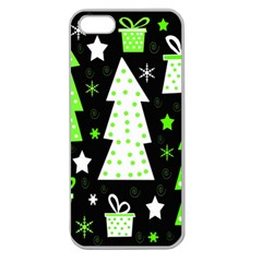 Green Playful Xmas Apple Seamless iPhone 5 Case (Clear)