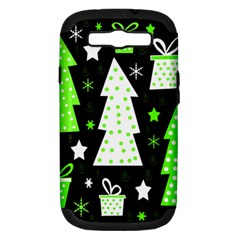 Green Playful Xmas Samsung Galaxy S III Hardshell Case (PC+Silicone)