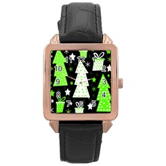 Green Playful Xmas Rose Gold Leather Watch