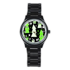 Green Playful Xmas Stainless Steel Round Watch