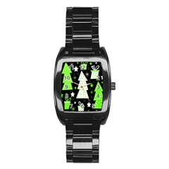 Green Playful Xmas Stainless Steel Barrel Watch