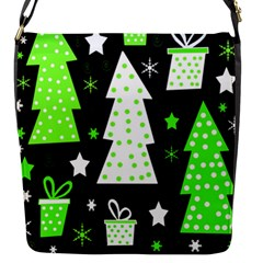 Green Playful Xmas Flap Messenger Bag (S)