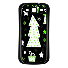Green Playful Xmas Samsung Galaxy S3 Back Case (Black)