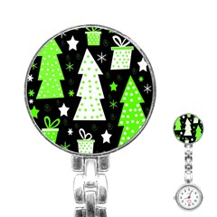 Green Playful Xmas Stainless Steel Nurses Watch