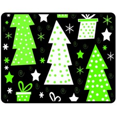 Green Playful Xmas Double Sided Fleece Blanket (Medium)