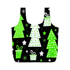 Green Playful Xmas Full Print Recycle Bags (M)