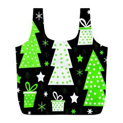 Green Playful Xmas Full Print Recycle Bags (l)
