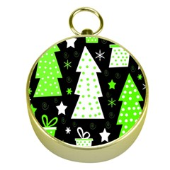 Green Playful Xmas Gold Compasses