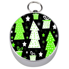 Green Playful Xmas Silver Compasses