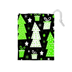 Green Playful Xmas Drawstring Pouches (Medium)