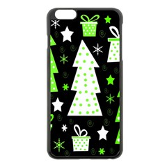 Green Playful Xmas Apple iPhone 6 Plus/6S Plus Black Enamel Case