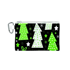 Green Playful Xmas Canvas Cosmetic Bag (S)