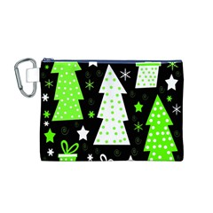 Green Playful Xmas Canvas Cosmetic Bag (M)