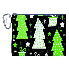 Green Playful Xmas Canvas Cosmetic Bag (XXL)