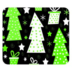 Green Playful Xmas Double Sided Flano Blanket (Small)