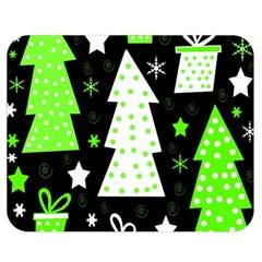 Green Playful Xmas Double Sided Flano Blanket (Medium)