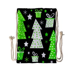 Green Playful Xmas Drawstring Bag (Small)