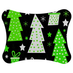 Green Playful Xmas Jigsaw Puzzle Photo Stand (Bow)