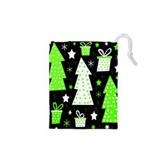 Green Playful Xmas Drawstring Pouches (XS)