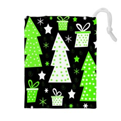 Green Playful Xmas Drawstring Pouches (Extra Large)