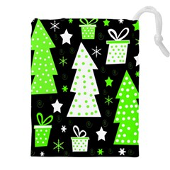 Green Playful Xmas Drawstring Pouches (XXL)