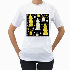 Yellow playful Xmas Women s T-Shirt (White) (Two Sided)