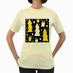 Yellow playful Xmas Women s Yellow T-Shirt