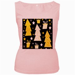 Yellow playful Xmas Women s Pink Tank Top