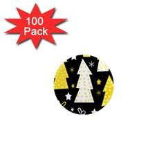 Yellow playful Xmas 1  Mini Magnets (100 pack)