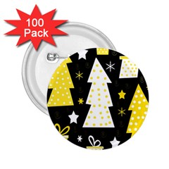 Yellow playful Xmas 2.25  Buttons (100 pack)