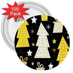 Yellow playful Xmas 3  Buttons (100 pack)