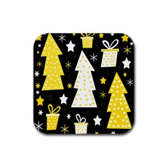 Yellow playful Xmas Rubber Square Coaster (4 pack)