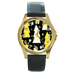Yellow playful Xmas Round Gold Metal Watch