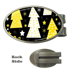Yellow playful Xmas Money Clips (Oval)