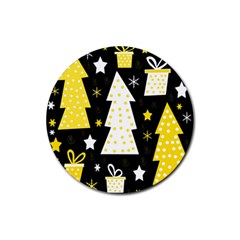 Yellow playful Xmas Rubber Round Coaster (4 pack)