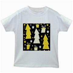 Yellow playful Xmas Kids White T-Shirts