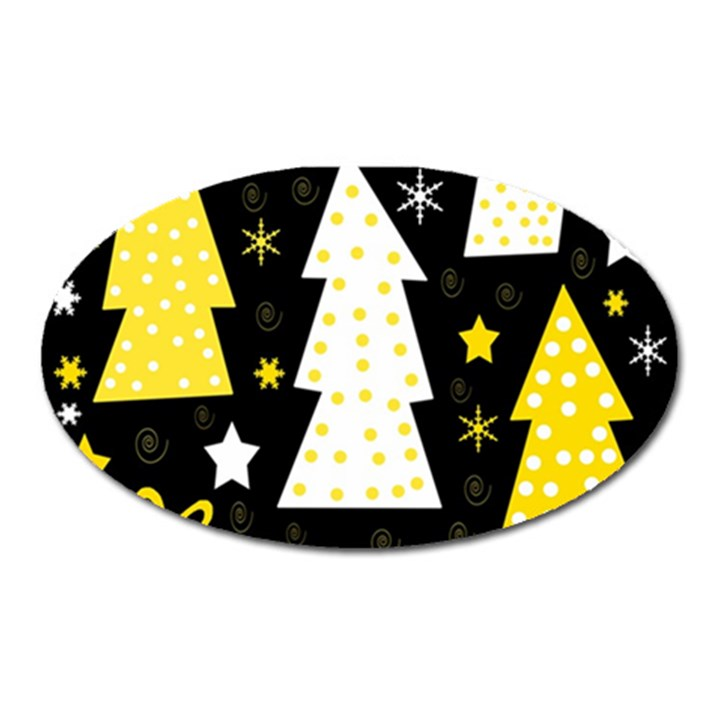 Yellow playful Xmas Oval Magnet