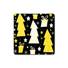 Yellow playful Xmas Square Magnet