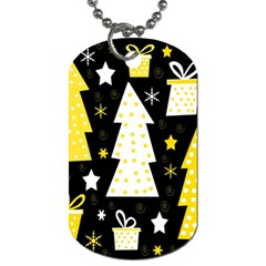 Yellow playful Xmas Dog Tag (One Side)