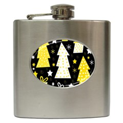 Yellow playful Xmas Hip Flask (6 oz)