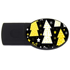 Yellow playful Xmas USB Flash Drive Oval (2 GB)