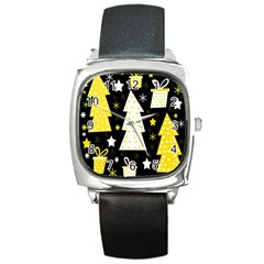Yellow playful Xmas Square Metal Watch