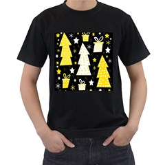 Yellow playful Xmas Men s T-Shirt (Black) (Two Sided)