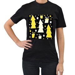 Yellow playful Xmas Women s T-Shirt (Black) (Two Sided)