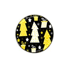 Yellow playful Xmas Hat Clip Ball Marker (4 pack)