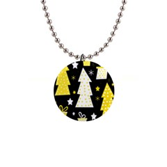 Yellow playful Xmas Button Necklaces