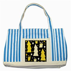 Yellow playful Xmas Striped Blue Tote Bag