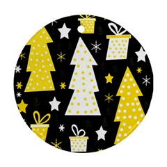 Yellow playful Xmas Round Ornament (Two Sides)