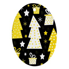 Yellow playful Xmas Oval Ornament (Two Sides)